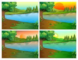 Vier scènes van rivier en bos vector