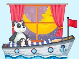 Een panda zit boven de boot naast een raam