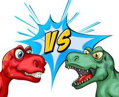 Twee T-Rex vechten met elkaar