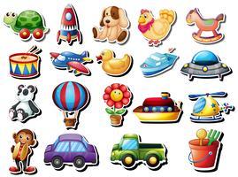 Stickers die met verschillend speelgoed worden geplaatst