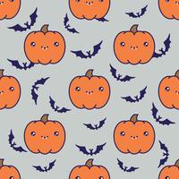 Naadloos Halloween-patroon met pompoenen op grijze achtergrond met silhouetten van flittermouse. vector