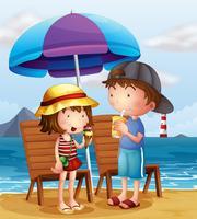 Twee kinderen op het strand in de buurt van de houten stoelen vector