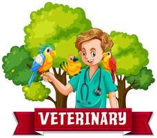 Veterinaire banner met kleurrijke vogel