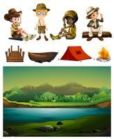 Camping en veel kinderen vector