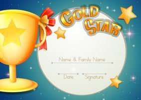 Certificaatsjabloon met trofee en sterren vector