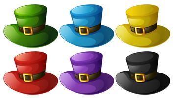 Hoeden in zes verschillende kleuren