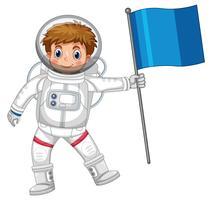Astronaut die blauwe vlag houdt