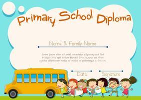Basisschooldiploma met schoolbus en kinderen vector