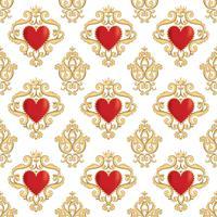 Naadloos damastpatroon met mooie sier rode harten met kronen. Vector illustratie