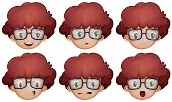 Jongen met een bril met verschillende emoties vector