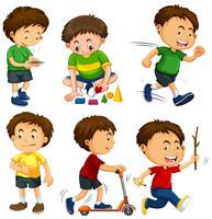 Jongens in zes verschillende acties