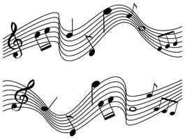 Muzieknotities op twee schalen