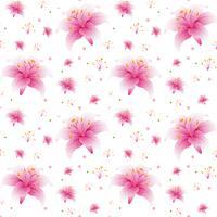Naadloos roze leliebehang vector
