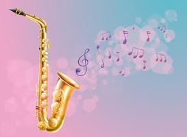 Een saxofoon met muzieknoten