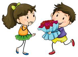 Een jongen die zijn vriendin een boeket bloemen geeft