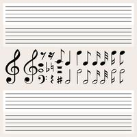 Muzieknoten en lege schalen