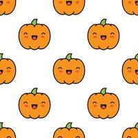 Naadloos Halloween-patroon met pompoenen op witte achtergrond. vector