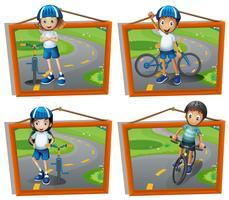Vier frames van kinderen fietsten