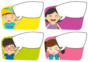 Vier ontwerpen van bordsjabloon en kinderen vector