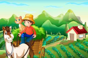 Een kar van het landbouwers berijdende paard