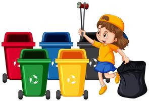 Meisje verzamelt vuilnis en reiniging vector