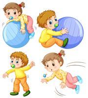 Babymeisje en jongen in verschillende acties