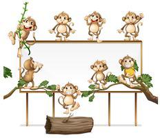 Een leeg bord bord met speelse aap