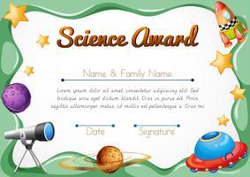 Certificatiesjabloon voor wetenschapsprijs vector