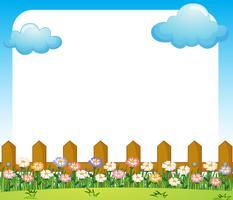Een lege papieren sjabloon met een tuin en wolken