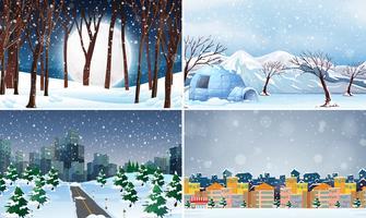 Set van koude winter achtergrond vector