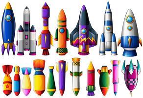 Verschillende soorten raketschepen en bommen vector