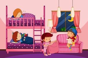 Vier kinderen in slaapkamer met stapelbed vector