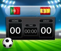 Portugal VS Spanje scorebord