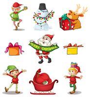 Negen verschillende kerstdecors vector
