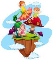 Drie feeën en paddestoelhuis