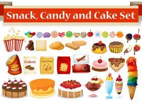 Veel soorten snacks en snoep vector