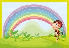 Een lachende aap en een regenboog