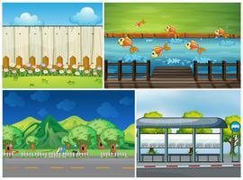 Vier scènes met weg en rivier vector