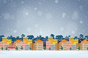 Dorp op de winterachtergrond