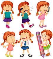 Meisje in zes verschillende acties