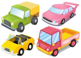 Vier kleurrijke voertuigen
