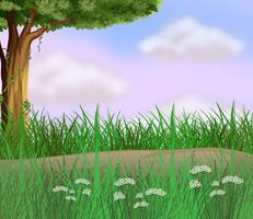 Grassen langs de weg vector