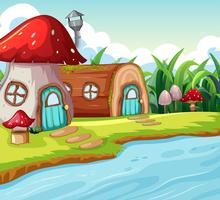 Paddestoel en houten huis