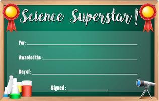 Certificaatsjabloon voor superster van de wetenschap vector