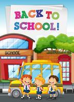 Studenten staan bij de schoolbus