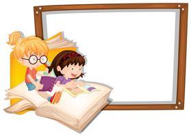 Grens sjabloon met twee meisjes lezen