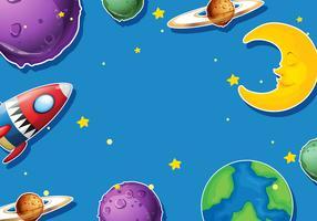 Ontwerp van het papier met planeten en raket