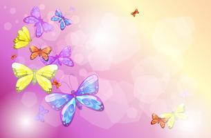 Een kantoorbehoeften met kleurrijke vlinders vector