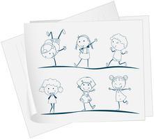 Een krant met een tekening van kinderen dansen