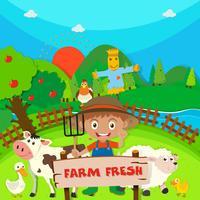 Boer en boerderijdieren op de boerderij vector